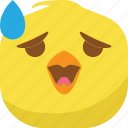 chick, chicken, drop, emoji, smiley, surprised, wondering icon