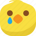 chick, chicken, drop, emoji, sad, smiley, tears icon