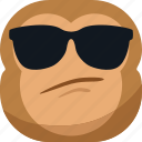 chipms, cool, emoji, emoticon, eye glasses, monkey, smiley icon