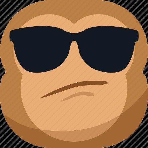 chipms, cool, emoji, emoticon, eye glasses, monkey, smiley icon