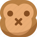 chipms, emoji, emoticon, monkey, shut up, silent, smiley icon