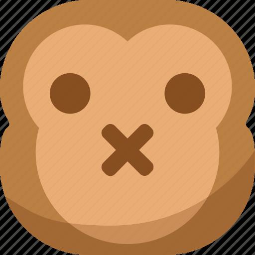 chipms, emoji, emoticon, monkey, shut up, silent, smiley icon