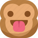 chipms, emoji, emoticon, happy, monkey, smiley, tongue icon