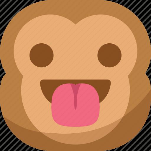 chipms, emoji, emoticon, happy, monkey, smiley, tongue icon