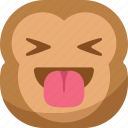 chipms, emoji, emoticon, laugh, monkey, smiley, tongue icon