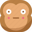 chipms, emoji, emoticon, monkey, shy, smiley, surprised icon