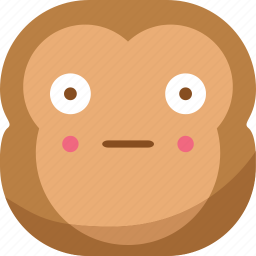 chipms, emoji, emoticon, monkey, shy, smiley, surprised icon