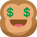 chipms, dollar, emoji, emoticon, money, monkey, smiley icon