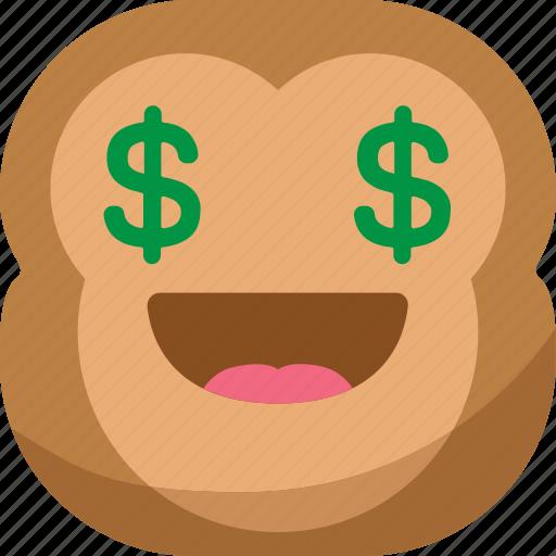 chipms, dollar, emoji, emoticon, money, monkey, smiley icon