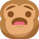 chipms, emoji, emoticon, monkey, smiley, surprised, wondering icon