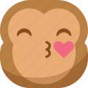chipms, emoji, emoticon, kiss, love, monkey, smiley icon