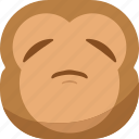 chipms, emoji, emoticon, monkey, sad, smiley icon