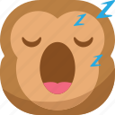 chipms, emoji, emoticon, monkey, sleep, sleepy, smiley icon