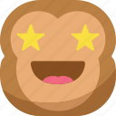 chipms, emoji, emoticon, favorite, monkey, smiley, stars icon