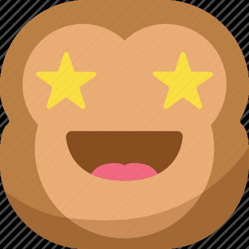 chipms, emoji, emoticon, favorite, monkey, smiley, stars icon
