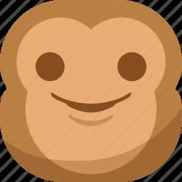 chipms, emoji, emoticon, monkey, smile, smiley, smirk icon