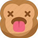 chipms, dead, emoji, emoticon, monkey, smiley, tongue icon
