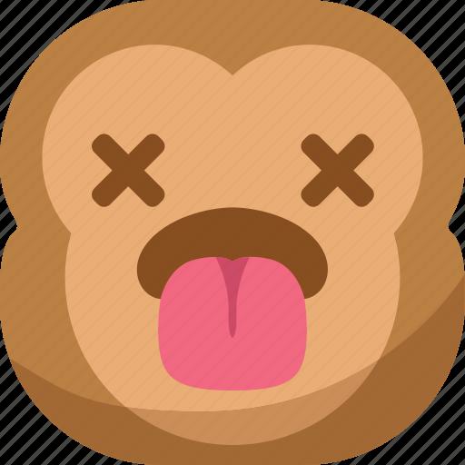 chipms, dead, emoji, emoticon, monkey, smiley, tongue icon