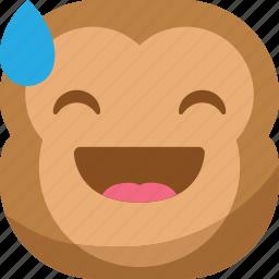 chipms, drop, emoji, emoticon, laugh, monkey, smiley icon