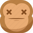 chipms, dead, die, emoji, emoticon, monkey, smiley icon