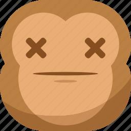chipms, dead, die, emoji, emoticon, monkey, smiley icon