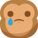 chipms, emoji, emoticon, monkey, sad, smiley, tears icon