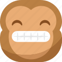 chipms, emoji, emoticon, monkey, smile, smiley, teeth icon