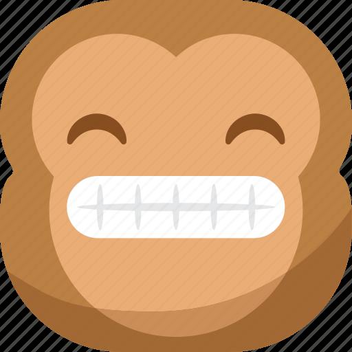 chipms, emoji, emoticon, monkey, smile, smiley, teeth icon