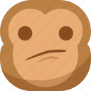 chipms, emoji, emoticon, monkey, sad, smiley, thinking icon
