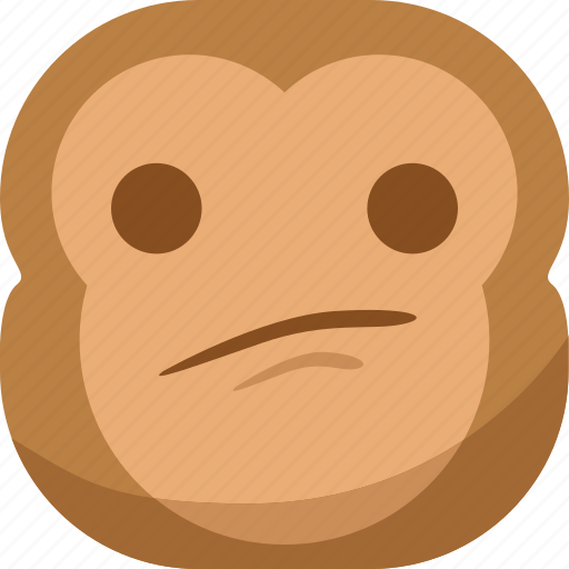 chipms, emoji, emoticon, monkey, sad, smiley, thinking icon