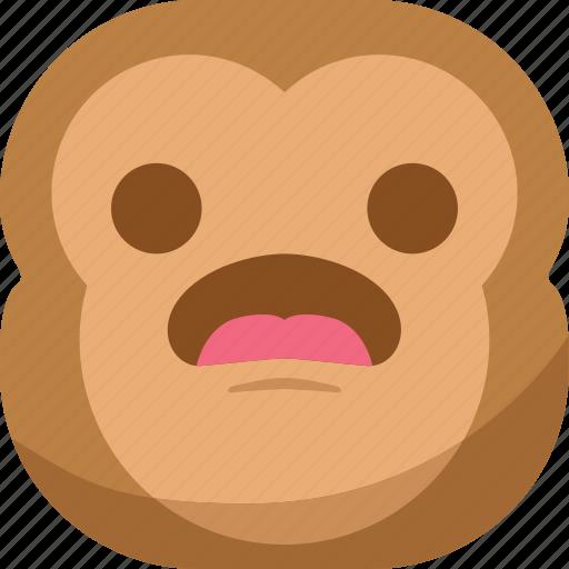 chipms, emoji, emoticon, monkey, smiley, surprised, wondering icon