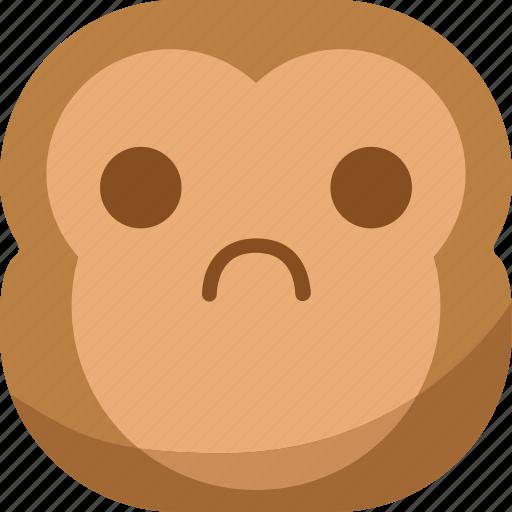 chipms, emoji, emoticon, monkey, sad, smiley icon