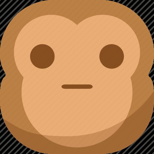 chipms, emoji, emoticon, faceless, monkey, smiley, surprised icon