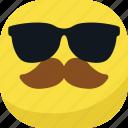 avatar, cool, emoji, emoticon, glasses, mustache, smiley icon