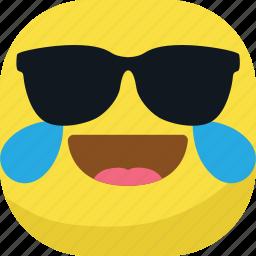 avatar, cool, emoji, emoticon, glasses, laugh, smiley icon
