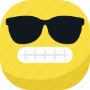 avatar, cool, emoji, emoticon, glasses, smiley, teeth icon