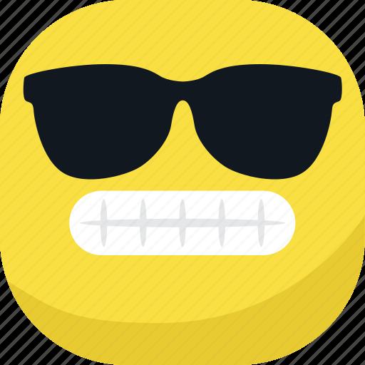 avatar, cool, emoji, emoticon, glasses, smiley, teeth icon
