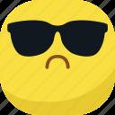 avatar, cool, emoji, emoticon, glasses, sad, smiley icon
