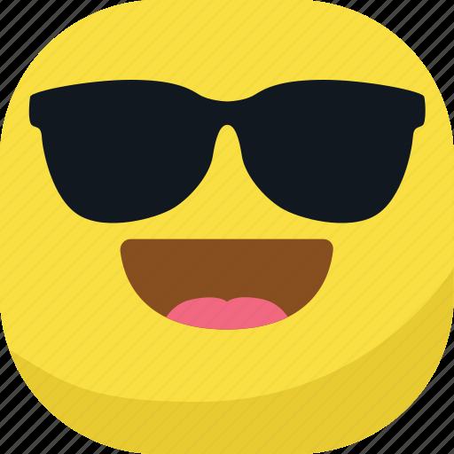 avatar, cool, emoji, emoticon, glasses, happy, smiley icon