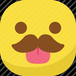 avatar, emoji, emoticon, emotion, mustache, smiley, tongue icon