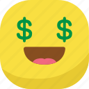 avatar, emoji, emoticon, emotion, laugh, money, smiley icon
