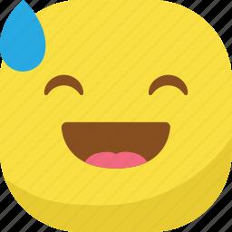avatar, drop, emoji, emoticon, emotion, laugh, smiley icon