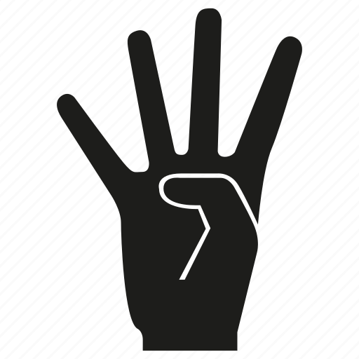 arm, finger, four, gesture, hand, number, palm icon