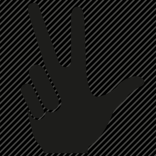 arm, finger, gesture, hand, palm, three icon