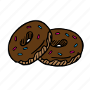 bread, chocolate, dessert, donut, food, meal, sweet icon