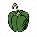 food, gastronomy, green pepper, healthy, kitchen, paprika, vegetable icon