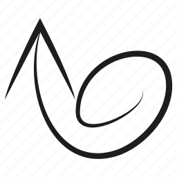 arrow, curve, dial, diretion, scribble, sketch, swirl, way icon
