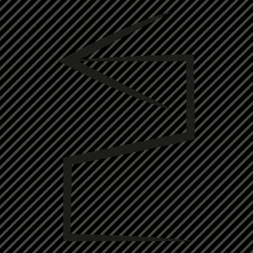 arrow, curve, diretion, scribble, sketch, way, zigzag icon