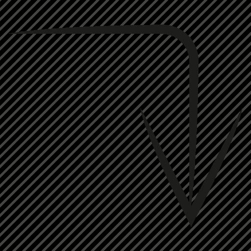 arrow, curve, diretion, down, scribble, sketch, way icon