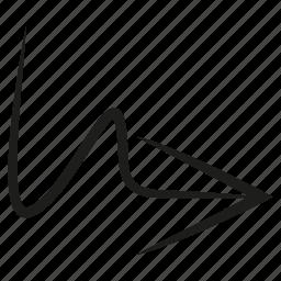 arrow, curve, diretion, scribble, sketch, way icon